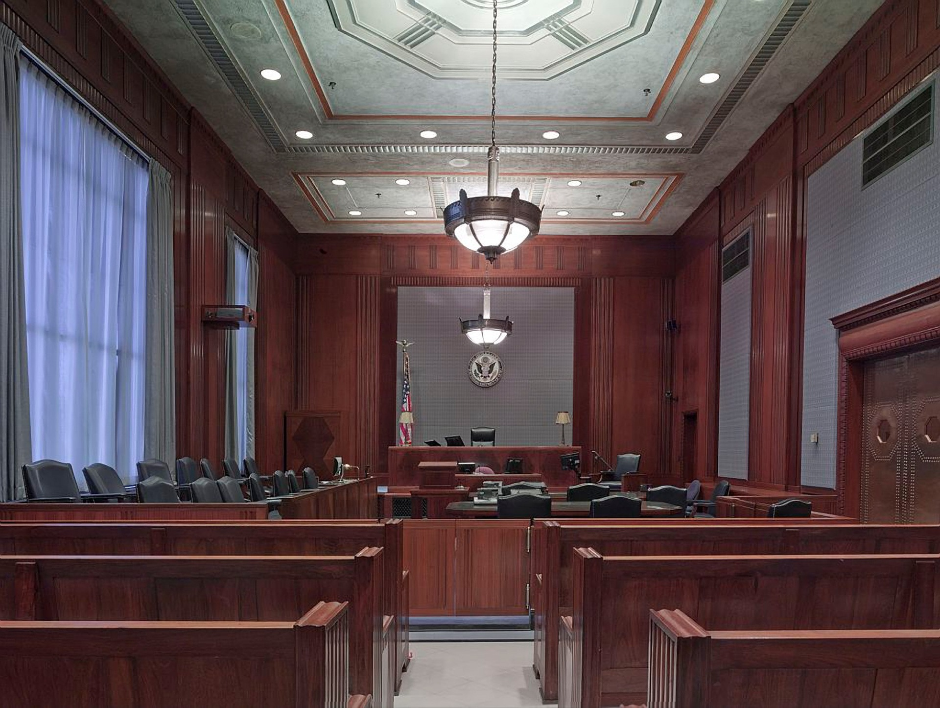 empty courtroom for jury duty