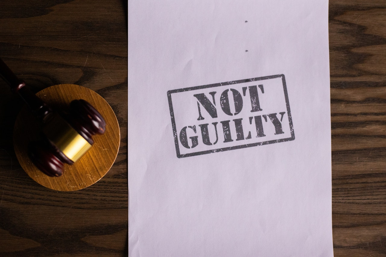 not guilty stamp on white paper