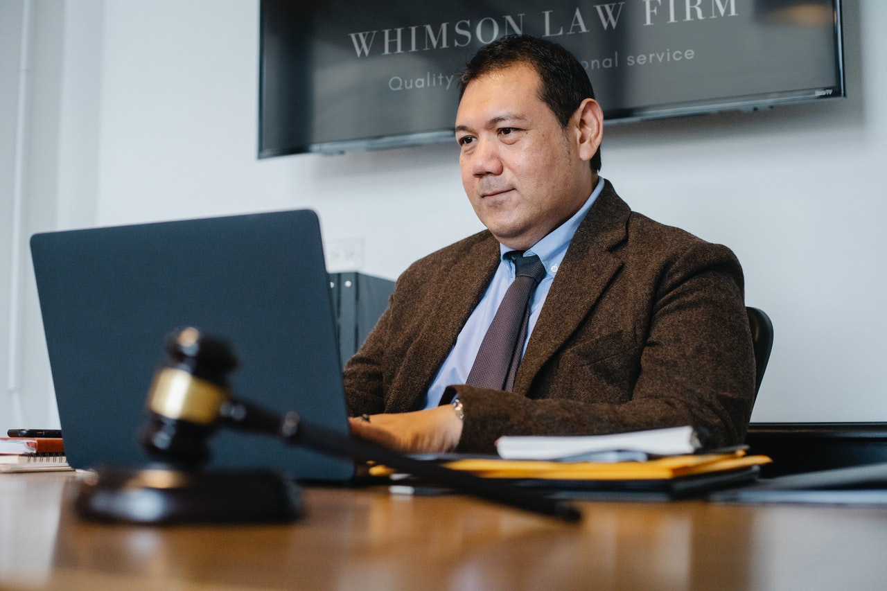 corporate lawyer working on laptop